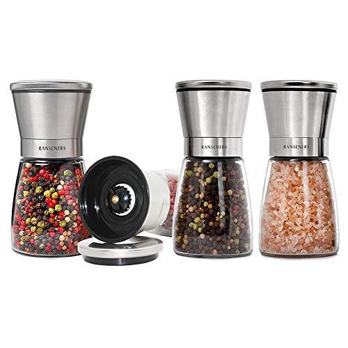 RANSENERS Salz und Pfeffermühle 4er Set mit verstellbarem Keramikmahlwerk, Edle Salzmühle & Gewürzmühle aus hochwertigem Edelstahl und Glas, Geeignet für Elegante Restaurants und Küchen.