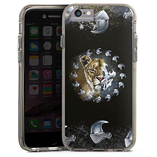 Apple iPhone 8 Bumper Hülle Bumper Case Glitzer Hülle Puma Lion Raubkatze Bumper Case transparent grau