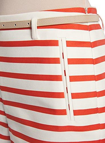 oodji Ultra Damen Baumwoll-Shorts mit Gürtel Weiß (1245S)