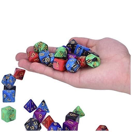 35-Stck-Polyedrische-Wrfel-Doppel-Farben-Polyedrischen-Spielwrfel-fr-RPG-Dungeons-und-Dragons-Pathfinder-mit-5-Stck-Schwarz-Beutel-5-Set-von-d20-d12-2-d10-00-90-und-0-9-d8-d6-und-d4