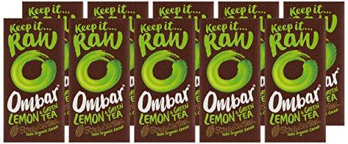 Ombar Lemon and Green Tea Matcha Chocolate Bar, 35g (Pack of 10)
