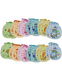 Sajani Baby Boy's and Girl's Cotton Mittens (Multicolour, Free Size, Print May Vary) - Pack of 6