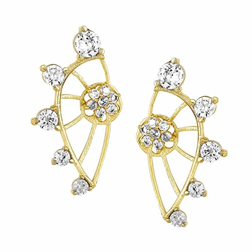 Gold Tone Indian Ethnic American Diamond Designer White Ear cuffs Earrings For Girls and Women (Fake Earrings Diamond White Gold)