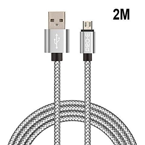 Câble Micro USB, Pro-E 2m Câble Chargeur Micro USB Nylon tressé / Android Câble pour Samsung Galaxy, Sony, HTC, Nexus, LG, Motorola,Kindle, Asus, Appareils Android, Smartphone et Plus Encore
