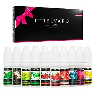 10 x 10ml Elvapo E-LIQUID Probiersets – verschiedene Geschmacksrichtungen – für E-Zigaretten und E-Shishas – 0mg (ohne Nikotin) – Made in Germany!