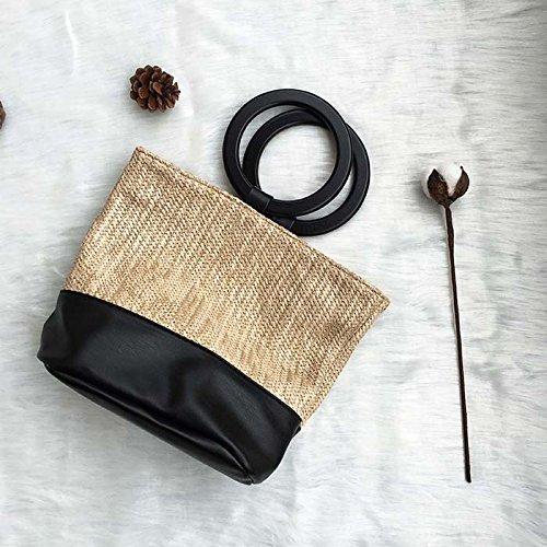 BAGEHUA Borsa in tessuto borsa di paglia borsetta vento vacanze borsa da spiaggia albicocca Apricot