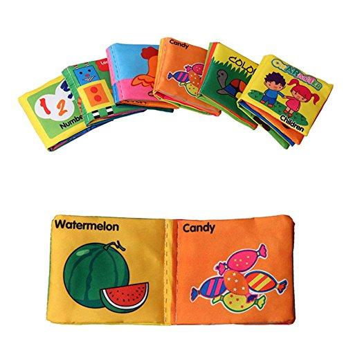 Tenlacum Giocattoli 6PCS morbido panno libri fruscio suono infante giocattoli educativi per bambini Passeggino sonaglio giocattolo neonato culla letto bambino 0-12 mesi