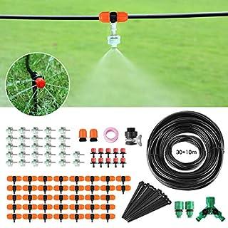FIXKIT 40M Bewässerungssystem, 120PCS Garten Bewässerung Kit, Automatische Bewässerung Sprinkler mit Stopter und Zerstäubungsdüse,geeignet für Decks, Terrassen, Gewächshäuser, Gärten, Rasen usw