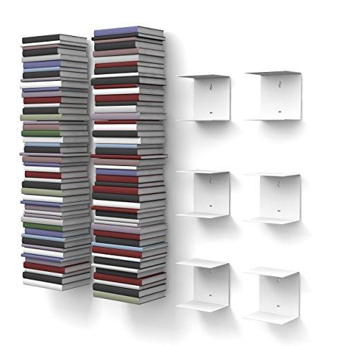 home3000 6 weiße unsichtbare Bücherregale mit 12 Fächern bis zu 300 cm hohen Bücherstapel für Bücher bis zu 22 cm Tiefe. -