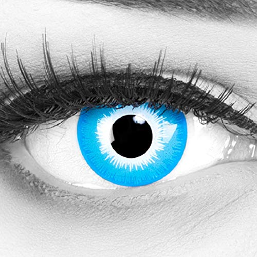 Farbige blaue Crazy Fun Kontaktlinsen 'Blue Elf' ohne Stärke mit gratis Linsenbehälter - Topqualität zu Karneval, Fasching und Halloween 2019 (Halloween-ideen 2019 Für Coole)