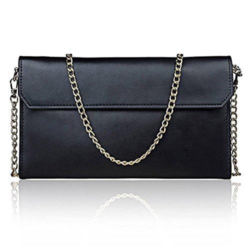 Honeymall Borse della borsa della borsa della spalla del messaggero del Crossbody del cuoio del Faux delle donne Blu Nero
