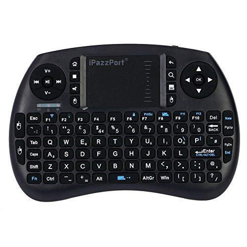 iPazzPort Bluetooth Mini Wireless Keyboard with Touchpad Mouse, Backlit Keyboard for XBMC, Raspberry Pi, Android Smart Tv, PC - British Layout