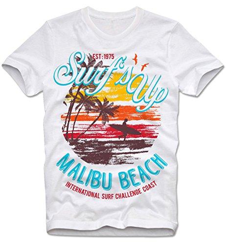 T-SHIRT SURFS UP MALIBU BEACH CALI FLORIDA MIAMI CALIFORNIA SURFING SURF, L
