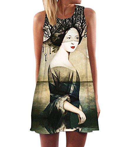 365-Shopping Damen Sommer Chiffon Kleider Sommerkleid Strandkleid Lose Minikleid Partykleider Top...