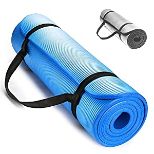 Premium Techfit Extra Tick 15 mm Fitness Gym Mat, 180x60 cm , Perfect for Floor Exercises, Camping, Yoga, Stretching, Abs, Pilates (Blue)