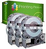 Printing Pleasure 3X AS12KW SS12KW Schwarz auf Weiß, Schriftband kompatibel für EpsonLabelWorks LW-300 LW-400 LW-500 LM-700 LW-900P OK200 OK300 OK500P OK720 OK900P KingJim TepraPro | 12mm x 8m