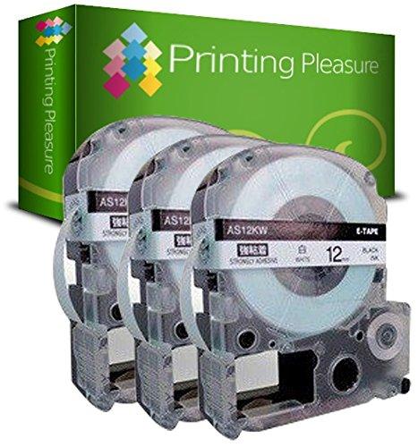 Printing Pleasure 3X AS12KW SS12KW Schwarz auf Weiß, Schriftband kompatibel für EpsonLabelWorks LW-300 LW-400 LW-500 LM-700 LW-900P OK200 OK300 OK500P OK720 OK900P KingJim TepraPro | 12mm x 8m - Epson Farbband Kassette