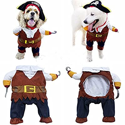 Alxcio Haustier Kleidung Piraten Seemann Halloween Weihnachtsfest Geschenk Fancy Dress Kostüm Outfit Ausstattung für Hunde Katze