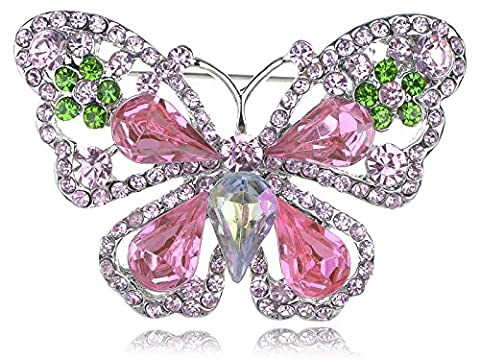 Rose Pink Synthetic Peridot-Grün-Kristall Strass Schmetterling Mode Brosche