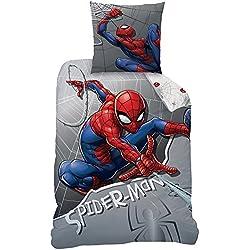 Spiderman 045323Super Hero Juego de Cama, algodón, Gris, 135x 200cm