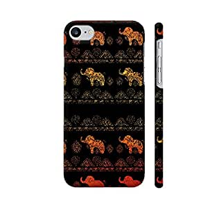Colorpur iPhone 7 Cover - Folklore Elephant Pattern On Dark Black Printed Back Case