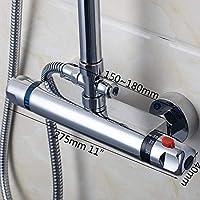 AOLI Thermostatic Shower Faucet Wall Mounted Double Handle Faucet Spout Filler Diverter Chrome Bathtub Valve Faucet Mixer Tap@Hw5520,Hw5522