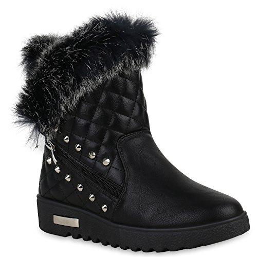 Winterboots Damen Schuhe Stiefeletten Fell Leder-Optik Warm Gefüttert 152780 Schwarz Silber 37 Flandell