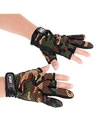 vulna (TM) al aire libre guantes de alta calidad guantes de pesca transpirable resistente al desgaste antideslizante 3corte bajo los dedos guantes de pesca