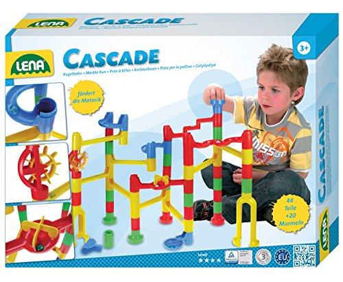 Lena 65290 - Cascade Kugelbahn Speed, Murmelbahn aus Kunststoff, Baukasten mit 44 Bahnelementen und 20 Kugeln, Motorik und Konstruktionsspielzeug für Kinder ab 3 Jahre