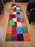 Candy Multicoloured Blocks Design Rug. Available in 5 Sizes (67cm x 240cm)