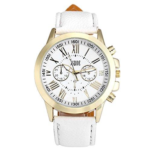 JSDDE Uhren,Neue Damenmode Genf Römischen Ziffern-Leder Analog Quarzuhr Armbanduhren(Weiß)