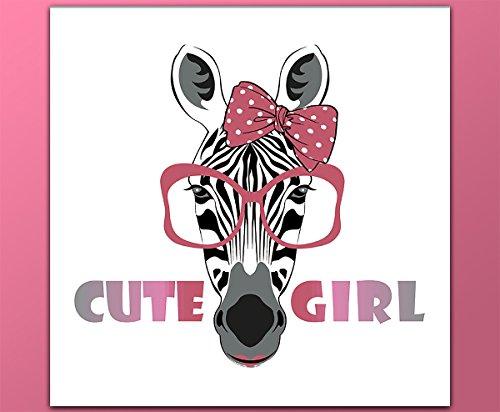 deinebilder24 - Kunstdruck Bilder - 80 x 80 cm - Zebra mit rosa Schleife und rosa Brille, Cute Girl Schrift