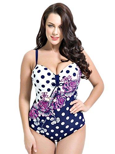 CHENGYANG Damen Badeanzug mit Gepunktet Blumen Push Up Bikini Bademode Große Größen Marine