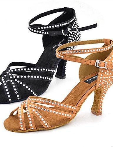 La mode moderne Rhinestone Sandales femmes personnalisables Chaussures de danse latine Chaussures similicuir Jazz Swing Salsa Sandales Chaussures de danse de bal Tango Samba Black