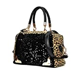 Anself Women's Leopard Print Sequin Top-handle Bag PU Leather Tote Crossbody Shoulder Bag