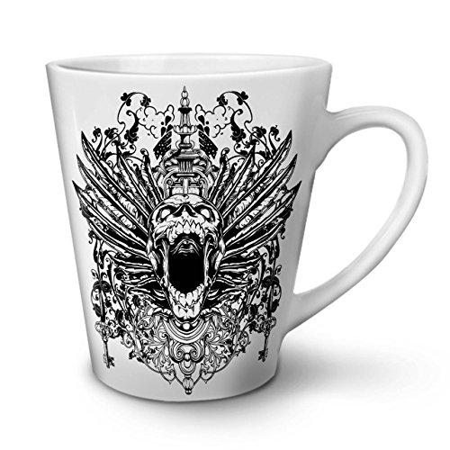 Wellcoda Unheimlich Schädel Kopf Gesicht Latte BecherTempel Kaffeetasse - Komfortabler Griff, Zweiseitiger Druck, robuste Keramik -
