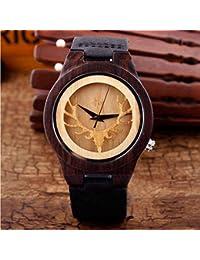 Reloj de madera Tabla de madera de cuero antiguo correa de cuero Tabla de madera del estudiante del reloj de madera de la alta calidad black