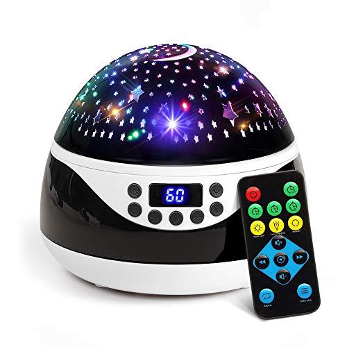 AnanBros Sternenhimmel Projektor mit Musik, Nachtlicht Baby Spieluhr mit Fernbedienung und Sleep-Timer, Rotierendes Lampe Kinderzimmer mit Effekten in 9 Farben, Projektor für Babyzimmer Deko, Schwarz