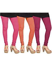CAY 100% Cotton Combo of Dark Pink, Orange and Baby Pink Color Plain, Stylish & Most Comfortable Leggings For Girls & Women with Full Length (SIZE : Free Size)
