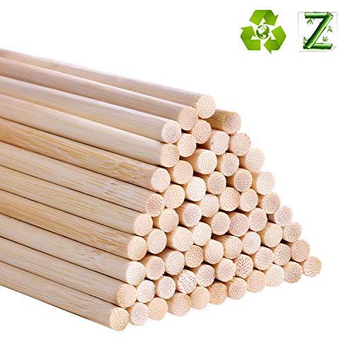 Bambusstäbe zum Basteln, 30,5 cm, lange Holzstäbchen für Heimwerker, 55 Stück 6mm / 0.25inch holz
