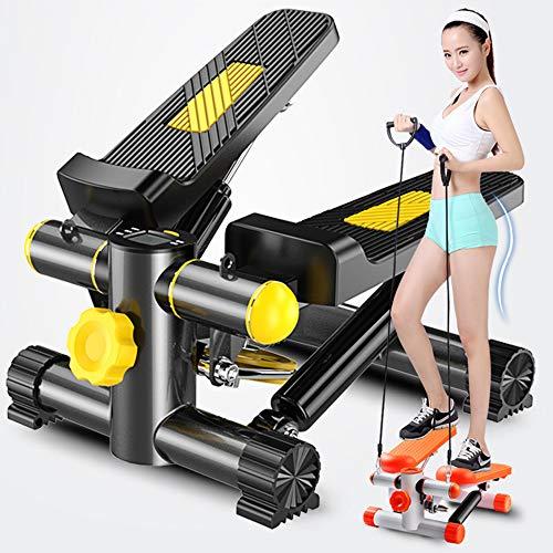 DTVX-SPORTS Haushalt hydraulische leise Wandern Pedal Fahrrad multifunktionale Fitnessgeräte mit Kordelzugmatte (gelb schwarz) (Hydraulische Pedale)