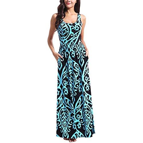 TIREOW Women Summer Dresses, Women Floral Tank Maxi Dress Pocket Sleeveless Casual Summer Long Dress