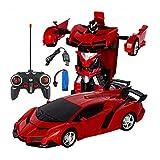 Volwco 1:18 modellino RC deformazione Auto, Robot di Controllo remoto con Un Pulsante di deformazione e Suono Musicale luci LED, Regalo Meraviglioso per Bambini Ragazzi Adolescenti Rosso.