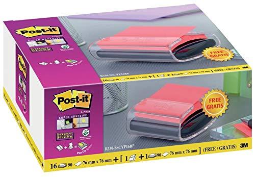 Post-it 697600 76 x 76 mm Haftnotizen Z-Notes Super Sticky, 16er Pack, Farblich sortiert