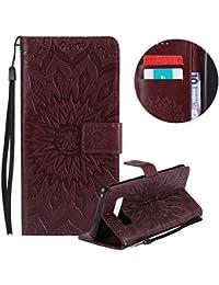 Gurt Brieftasche für Galaxy Note 8,Braun Handyhülle für Galaxy Note 8,Moiky Ziemlich Schöne Mandala Sonnenblume Geprägt Klappbar Kartenfächer Stoßdämpfende Ledertasche mit Stand