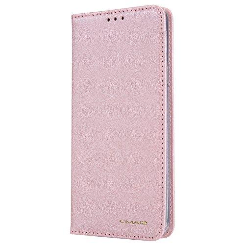HARRMS Samsung Galaxy S7 Handyhülle Handytasche mit Geldbörse mit Kredit Karten Fach Geldklammer Leder Hülle Handyfach Magnet Schutzhülle, Rosa Gold