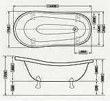 Freistehende Luxus Badewanne Jugendstil Roma Hellblau/Weiß/Weiß 1470mm – Barock Antik Stil Badezimmer - 5