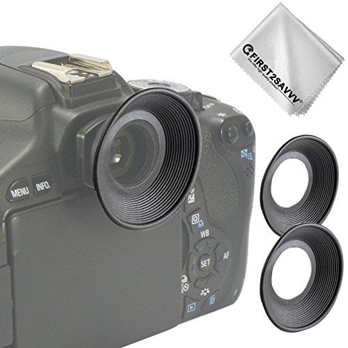 First2savvv 2 X DSLR reemplazo tapa del ocular y el ocular para Canon EOS 1300D 1100D 1000D 800D 700D 760D 600D 650D 550D 500D 400D 450D DSLR Camera + Paño de limpieza - QJQ-OX-C-X2-01G11