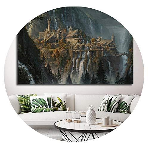 Dghui painting deraction Poster Le Seigneur des Anneaux - Hobbit HD - Impression sur Toile - Art Mural - Peinture à l'huile - Décoration Moderne pour la Maison Contemporain 24x16 inch No Frame