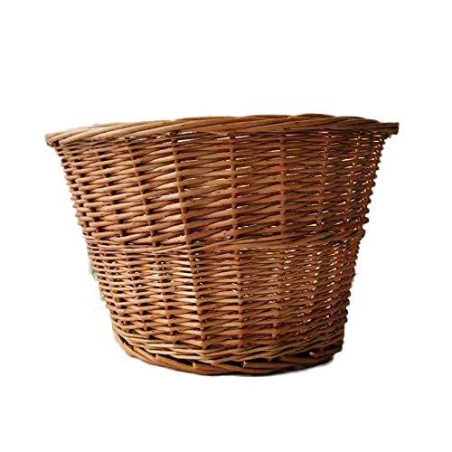 Evenlyao Wicker Fahrradkorb Halbrunden Griff + Leder, Vintage, Handgefertigt - Wicker Griff